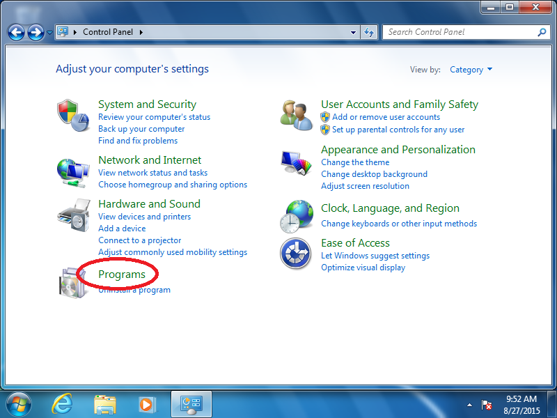 Click: Programs (if Control Panel is set to Category View)