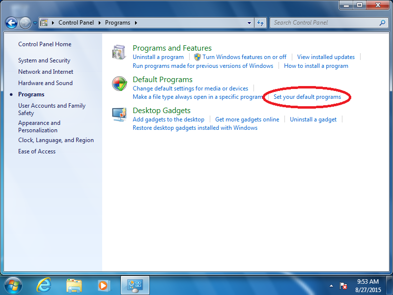 Click: Set your default programs (if Control Panel is set to Category View)