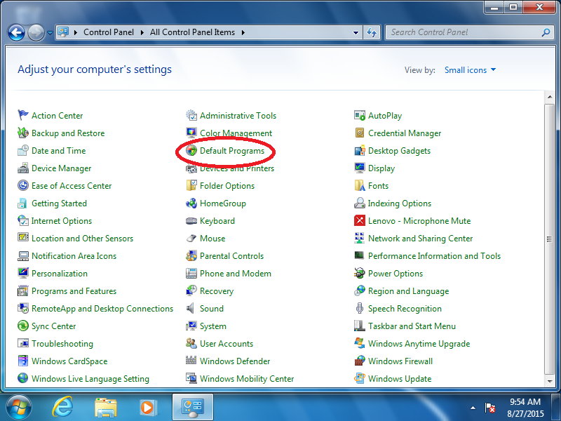 Click: Default Programs (if Control Panel is set to Icon View)