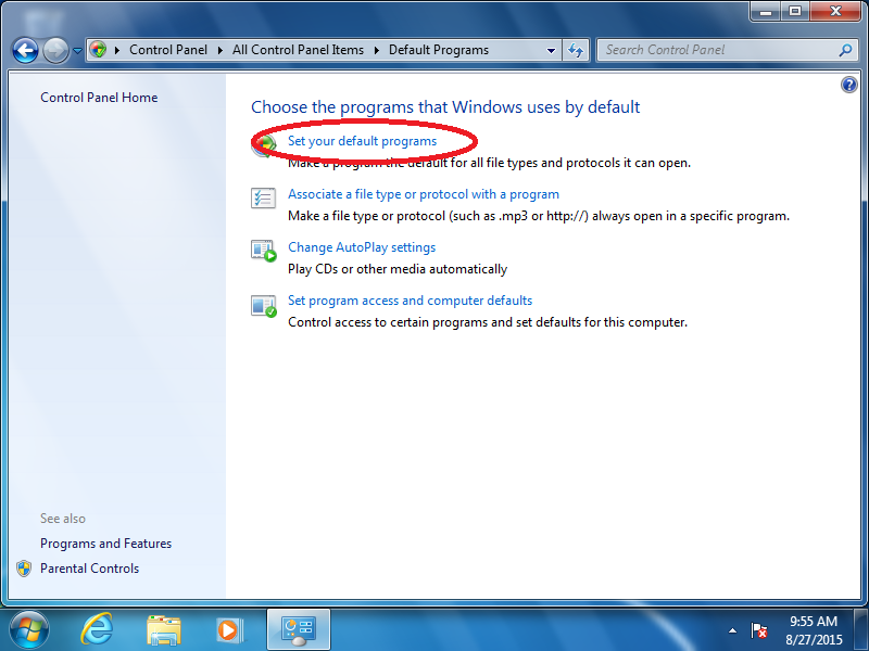 Click: Set your default programs (if Control Panel is set to Icon View)
