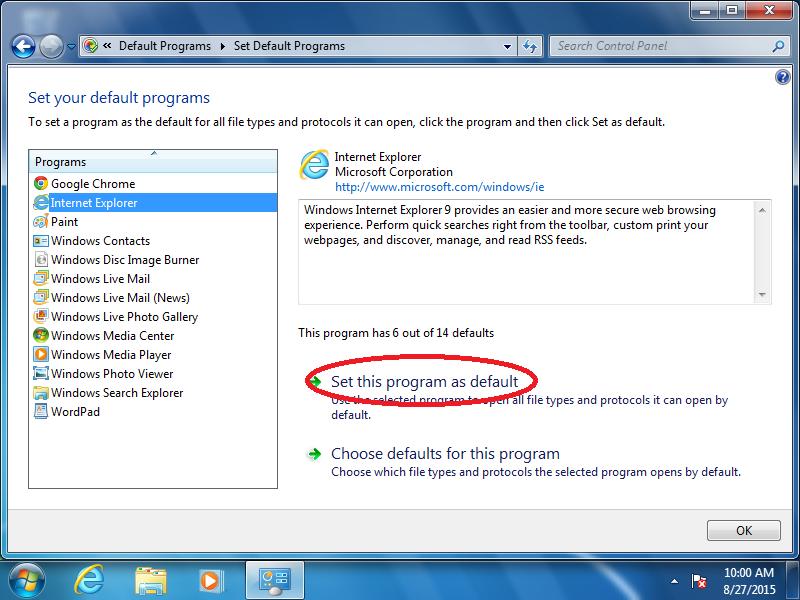 Click: Set this program as default