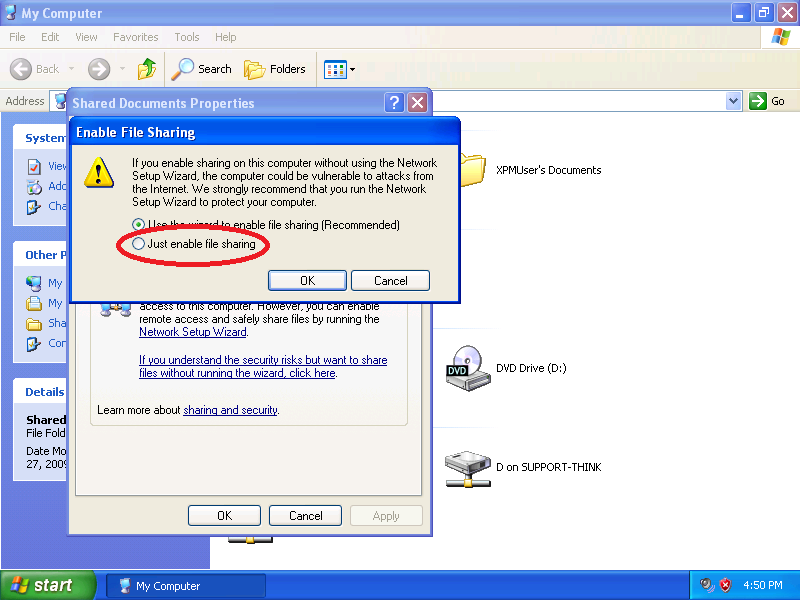 Click: Just enable file sharing