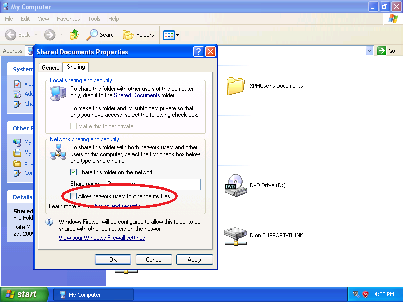 Check: Allow network users to change my files (Optional)