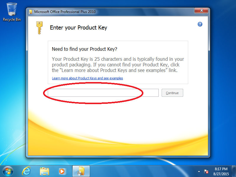 Enter your product key code.