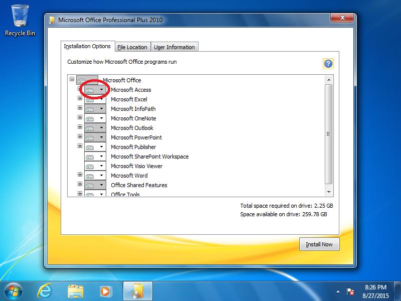 Click the box next to Microsoft Access.