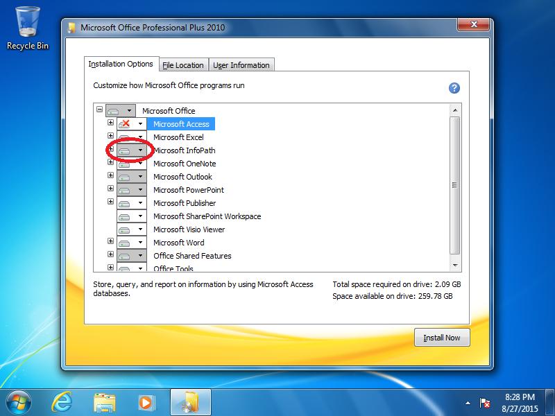 Click the box next to Microsoft InfoPath.