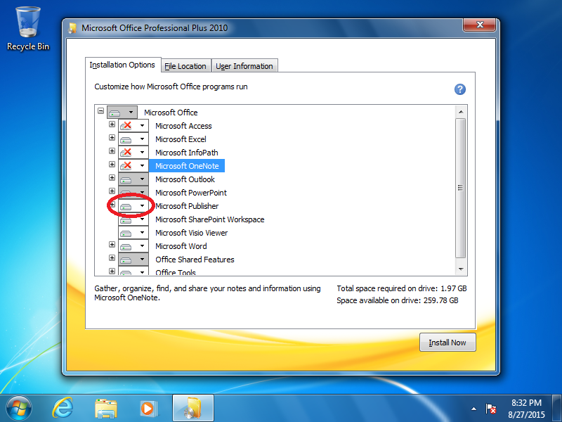 Click the box next to Microsoft Publisher.