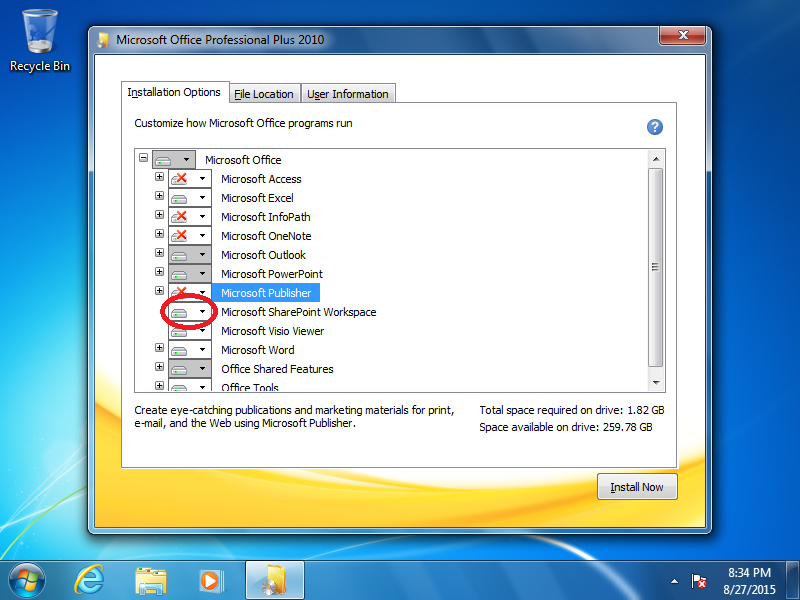 Click the box next to Microsoft SharePoint Workspace.