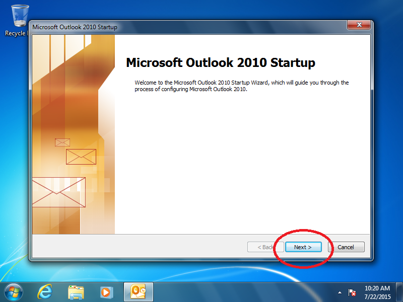 If the Microsoft Outlook startup screen appears, set up Outlook without email.