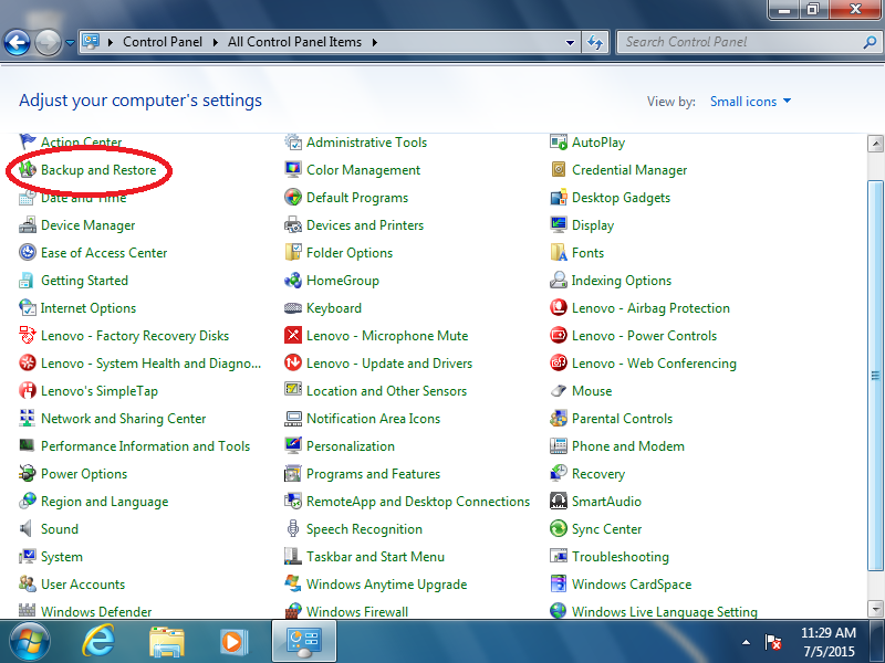 Click: Backup and Restore (if Control Panel is set to: icons)