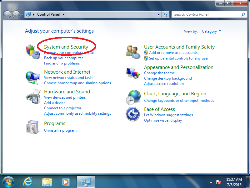 Click: System and Security (if Control Panel is set to: Category)