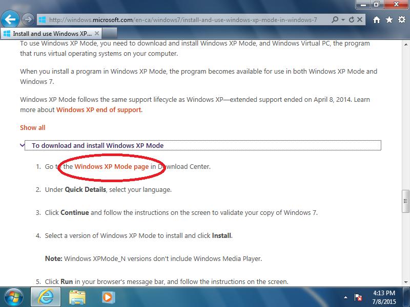 Click: Windows XP Mode page