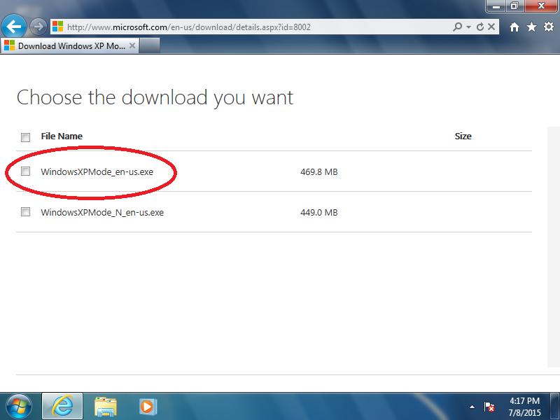 Check: [x] WindowsXPMode_en-us.exe