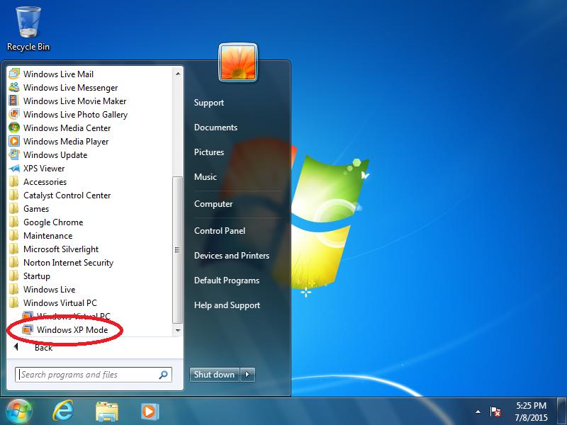 Click: Windows XP Mode