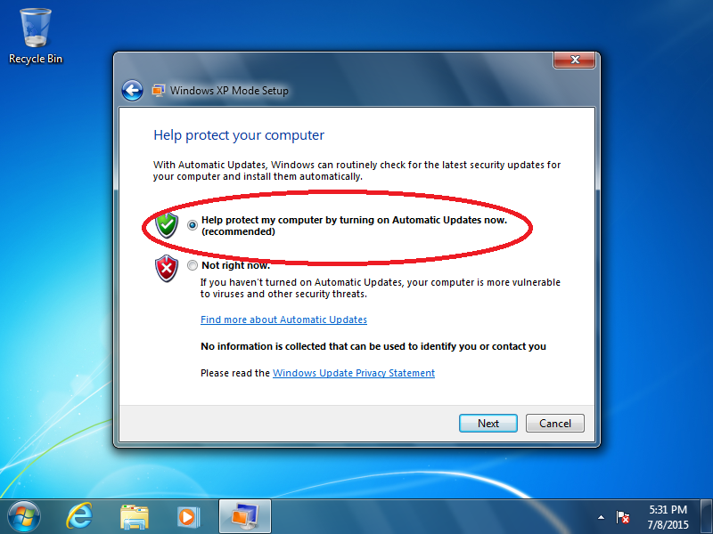 Select: Help protect my computer by turning on Automatic Updates now (recommended) > [Next]
