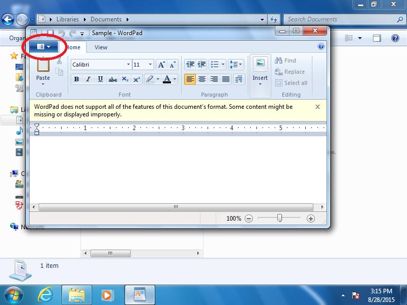 Open the WordPad File Menu.