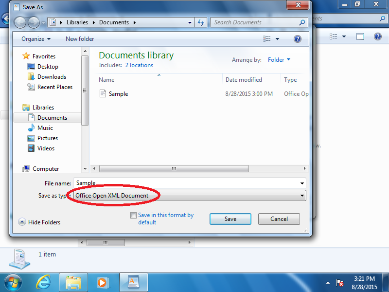 Verify Save as type: Office Open XML Document