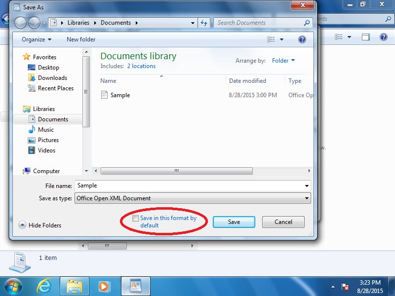 Check: Save in this format by default