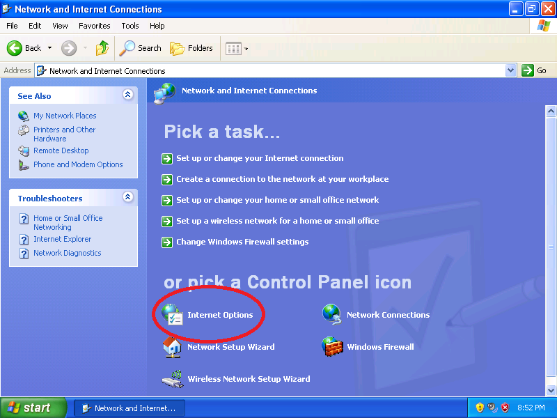 Click: Internet Options (if Control Panel is set to Category View)