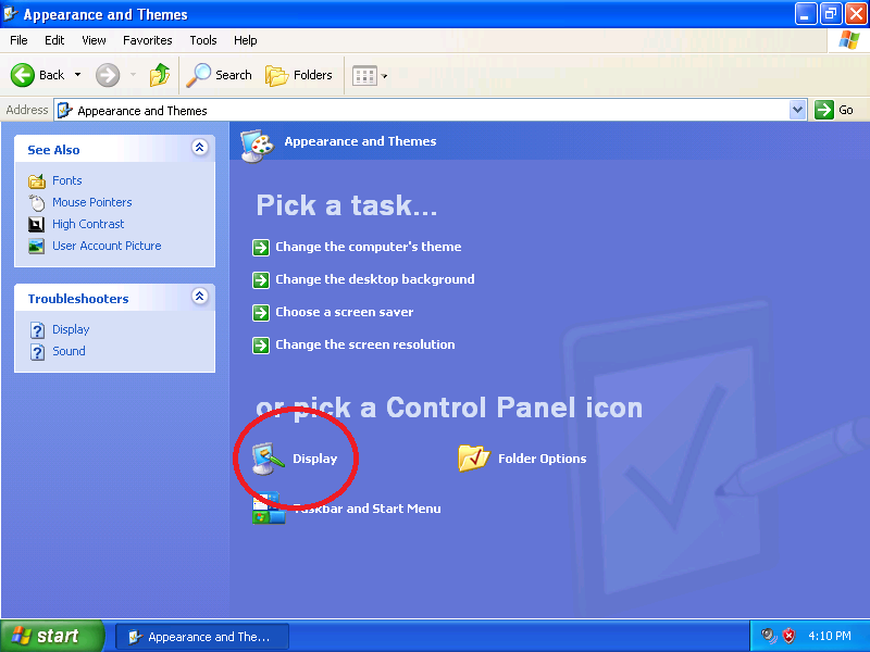 Click: Display (if Control Panel is set to Category View)