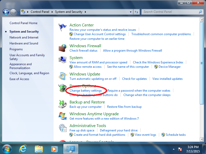 Click: Change battery settings (if Control Panel is set to: Category)