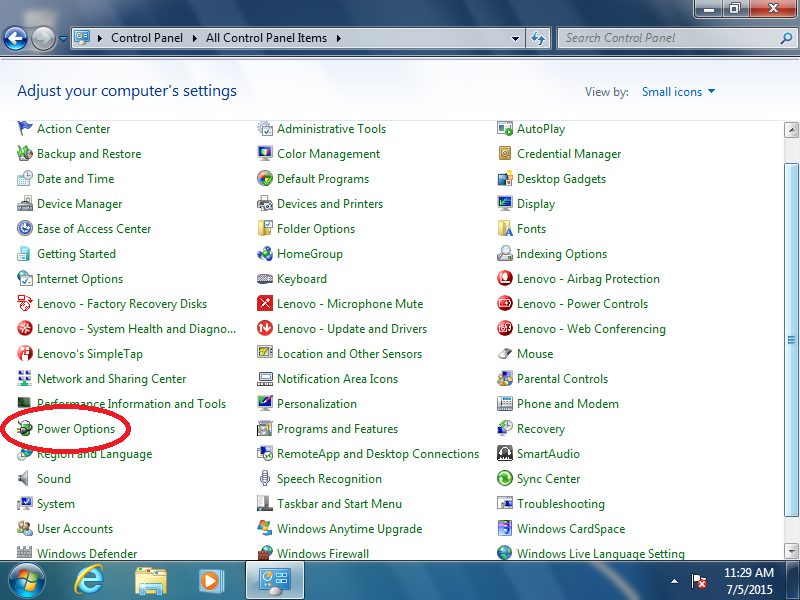 Click: Power Options (if Control Panel is set to: Icons)