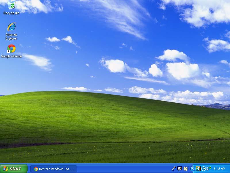 Right-click in blue area of taskbar