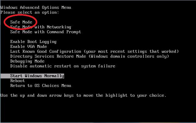 Use the arrow keys to select: Safe Mode