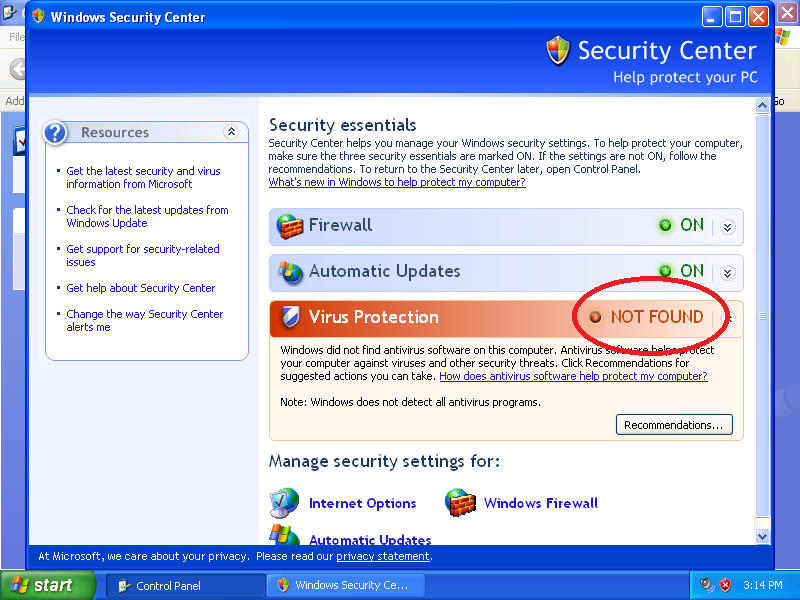 If Virus Protection shows NOT FOUND, you can install antivirus software.
