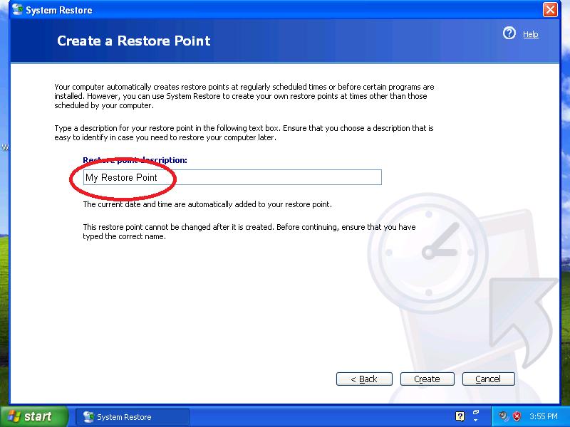 Type a description for your restore point.