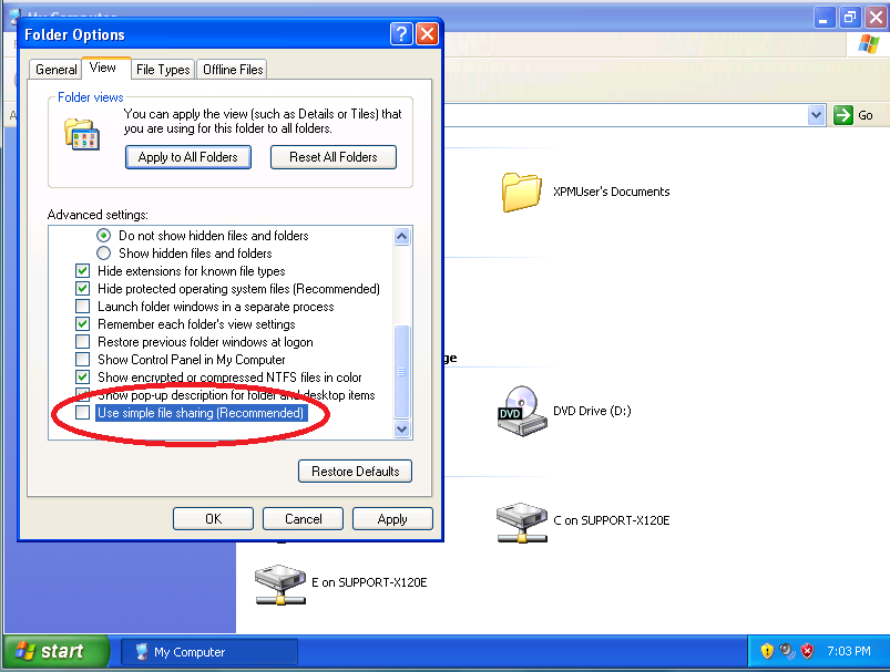 Uncheck: [ ] Use simple file sharing (Recommended)