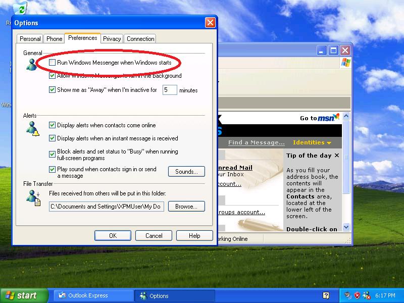 Uncheck: [ ] Run Windows Messenger when Windows starts