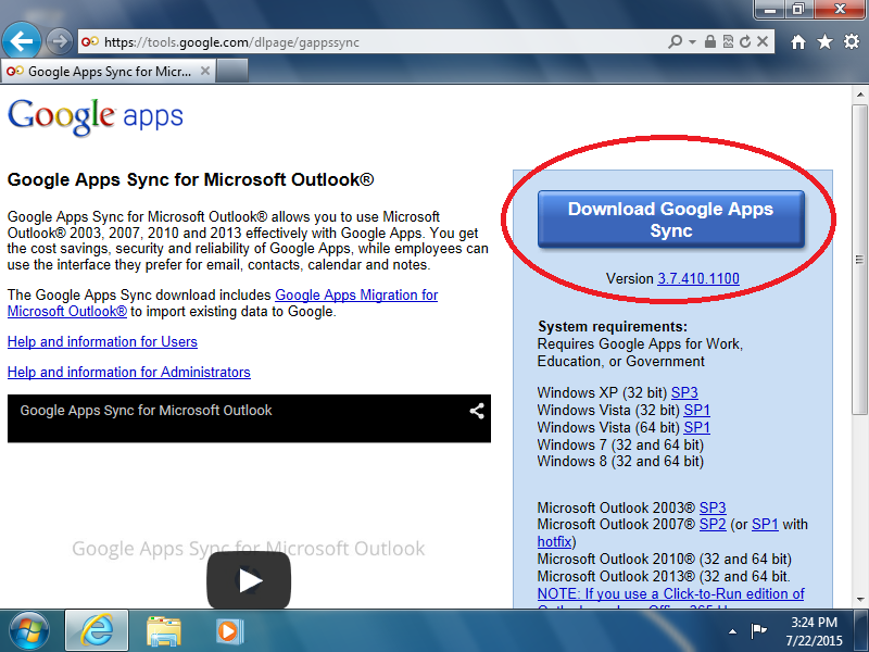 Click: [Download Google Apps Sync]