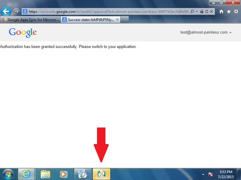 Click the Google Sync icon on the Windows task bar.