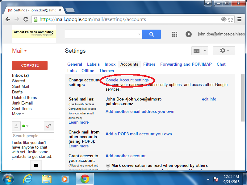 Click: Google Account settings