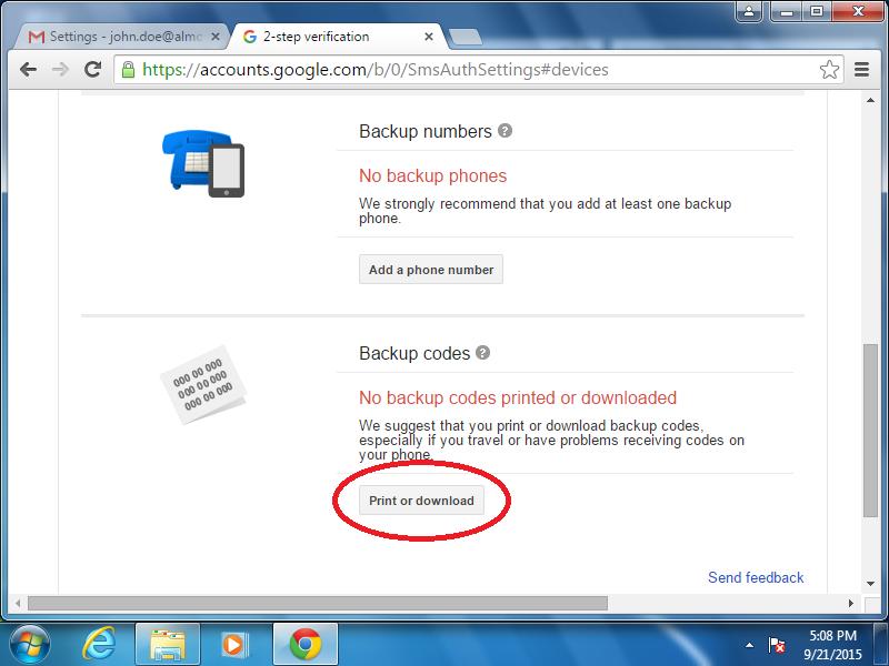 Click: Print or download (under Backup codes)