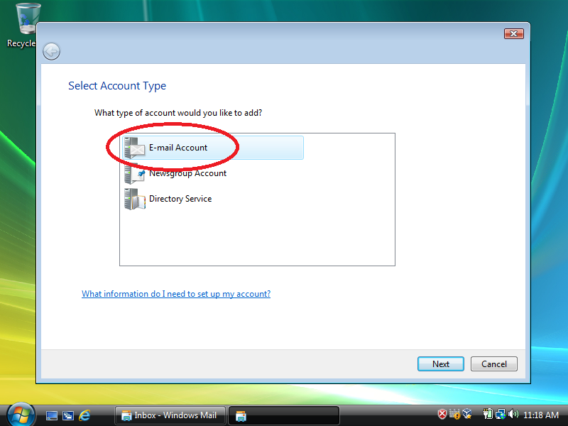 Select: Email Account