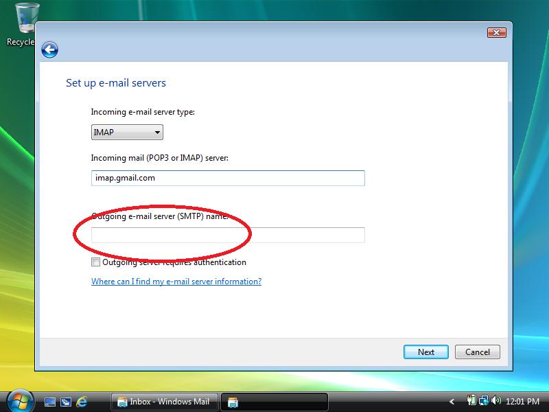 Set outgoing server to: smtp.gmail.com