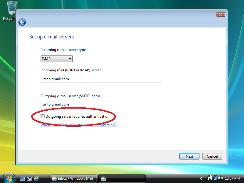 Check: Outgoing server requires authentication