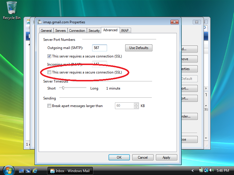 Check: This server requires a secure connection (SSL) (under: Incoming mail (IMAP))