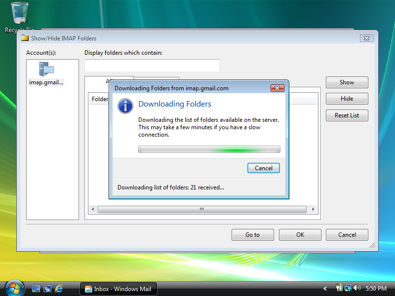Wait for folders to download.