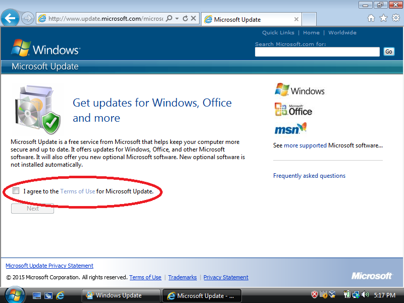 Check: I agree to the Term of Use for Microsoft Update.
