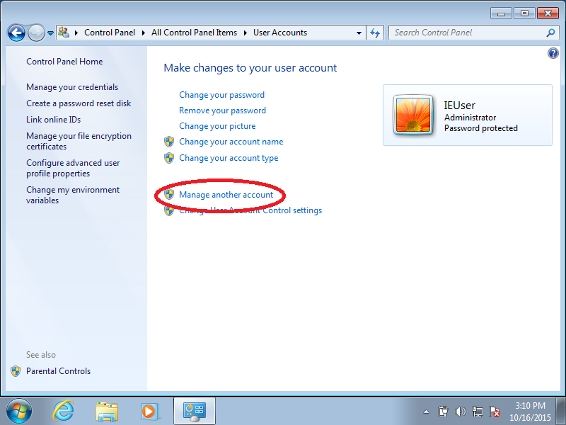 Click: Manage another account (if Control Panel is set to Icon Mode)