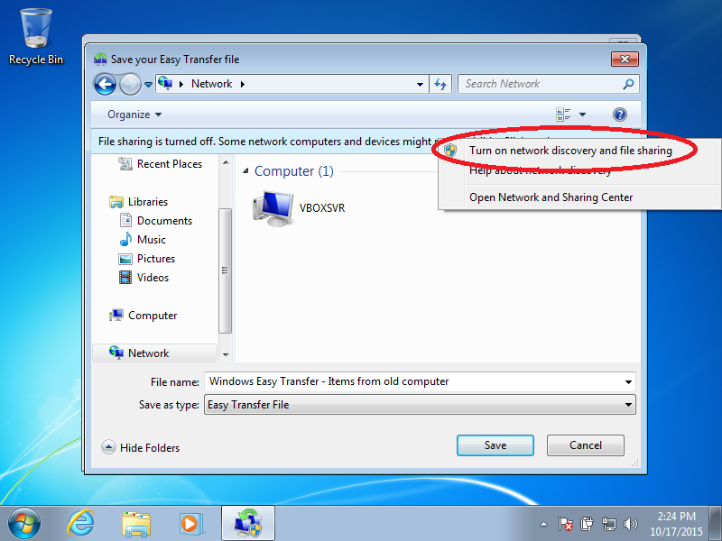 Click: Turn on network discovery and file sharing