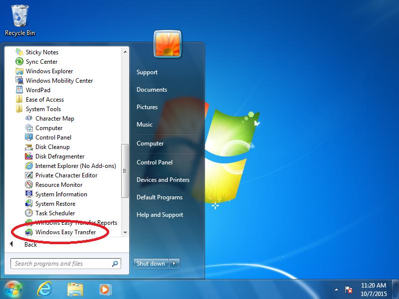 Click: Windows Easy Transfer