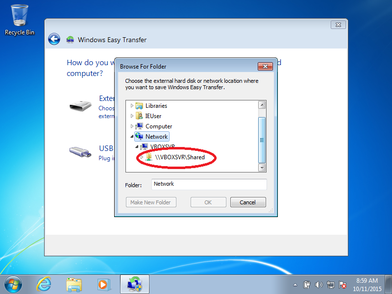 Locate the shared folder you wish to use