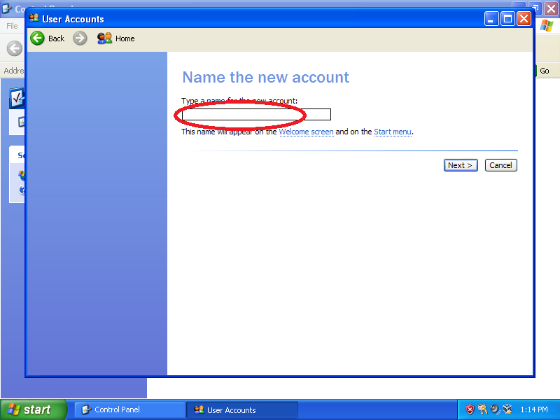 Name the account: Transfer Admin