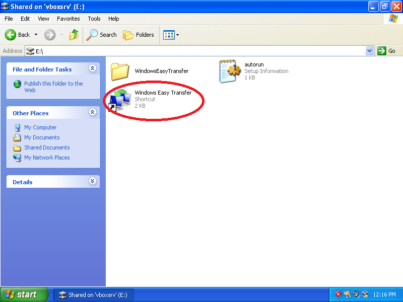 Double-click: Windows Easy Transfer