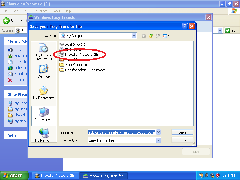 Chose a network or external drive to store the backed up user accounts