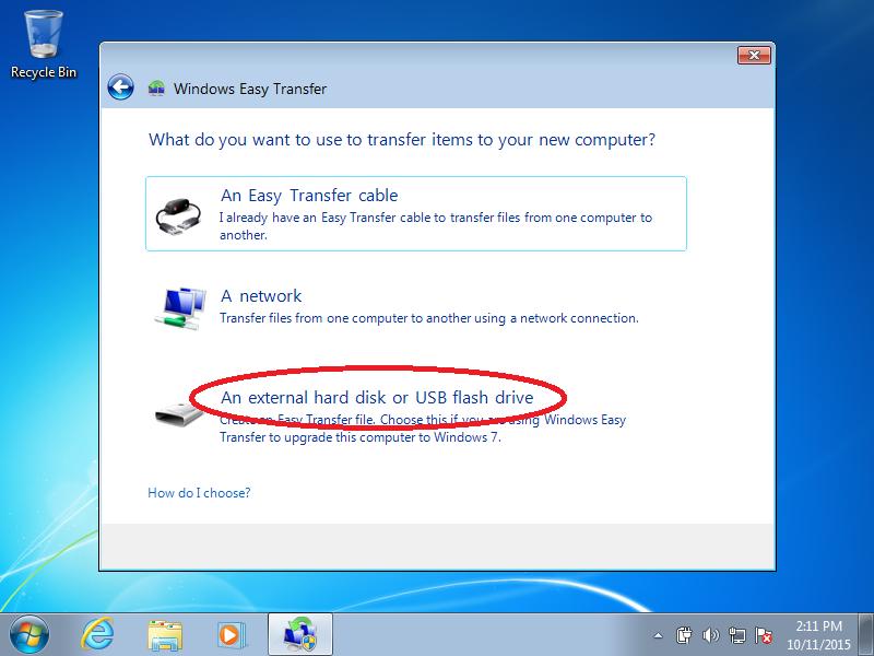 Click: An external hard disk or USB flash drive